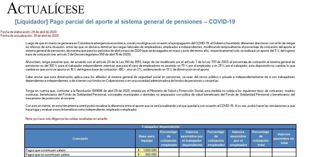 [Liquidador] Pago parcial del aporte al sistema general de pensiones – COVID-19