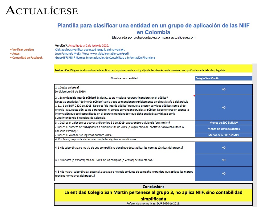 Plantilla para clasificar una entidad en un grupo de aplicación de las NIIF en Colombia