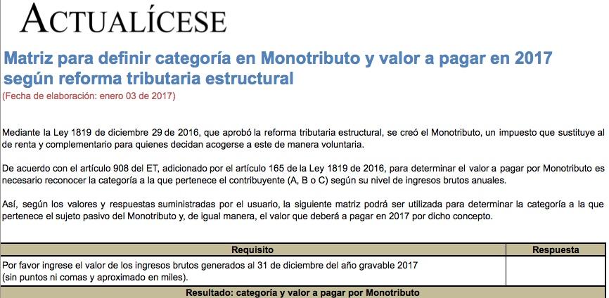 Matriz para definir categoría en Monotributo y valor a pagar en 2017 según reforma tributaria 2016