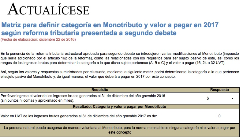 [Guía] Matriz para definir categoría en Monotributo y valor a pagar en 2017 según reforma tributaria
