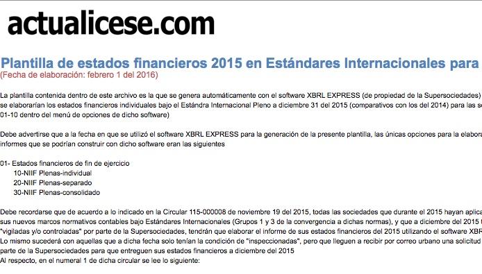 [Guía] Plantilla de estados financieros 2015 bajo Estándares Internacionales para Supersociedades con XBRL Express