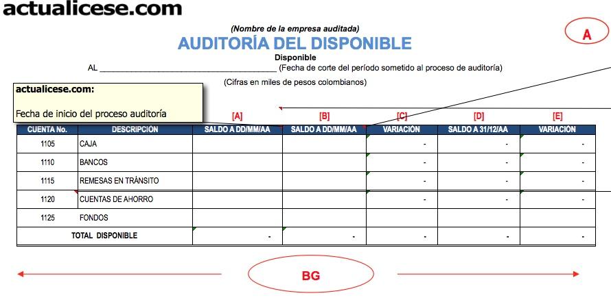 [Formato] Auditoría del disponible