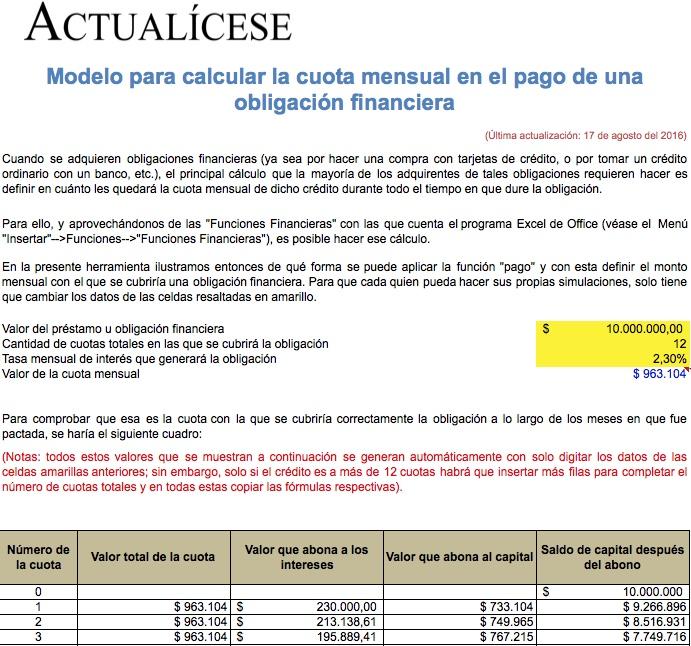 [Liquidador] Cuota mensual en el pago de una obligación financiera