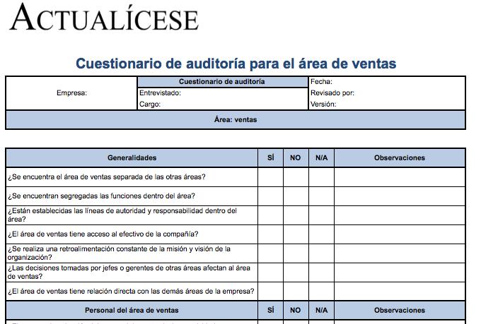 [Formato] Cuestionario de auditoría para área de ventas
