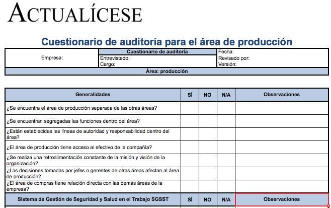 Cuestionario de auditoría para área de producción