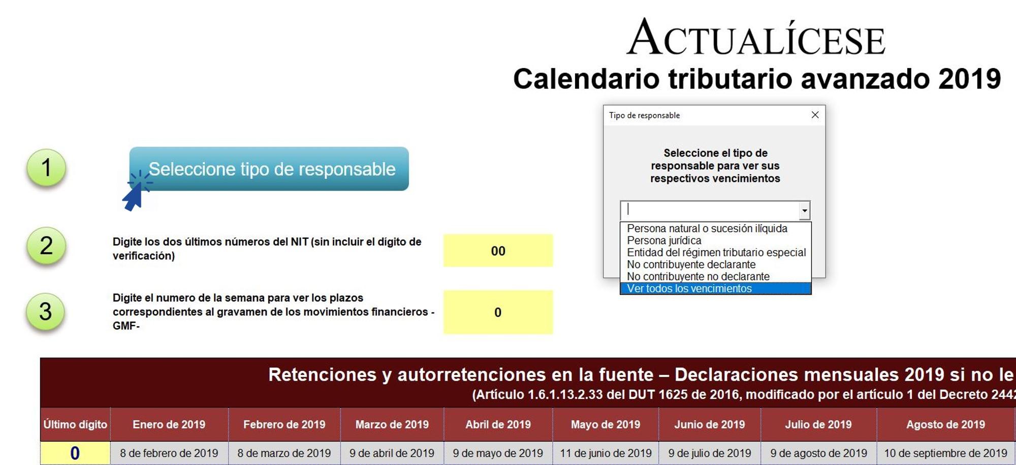 Calendario tributario 2019 avanzado