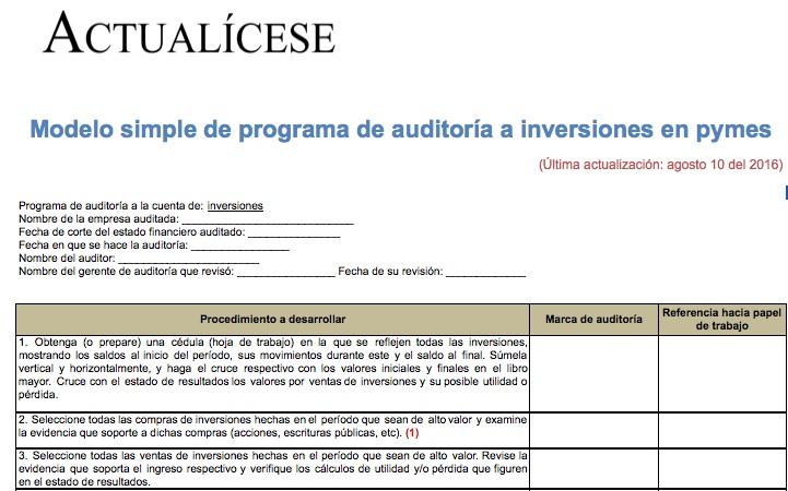 [Guía] Modelo simple de programa de auditoría a inversiones en pymes