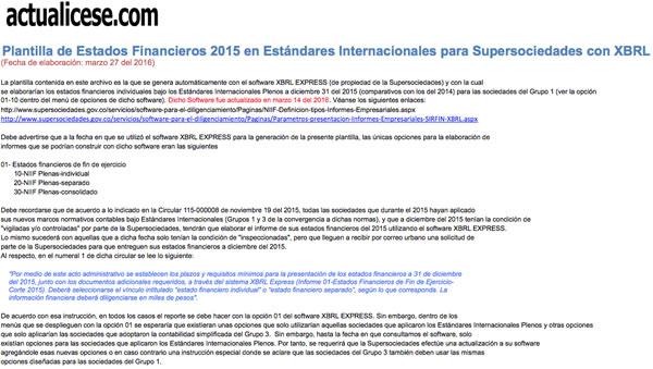 [Guía] Plantilla de Estados Financieros 2015 bajo Estándares Internacionales Plenos para Supersociedades con XBRL Express