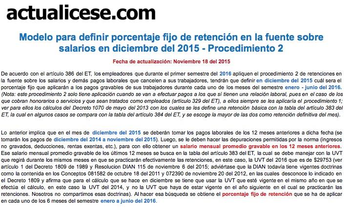 [ORO] Retención en la fuente con procedimiento 2 para determinar porcentaje en diciembre de 2015