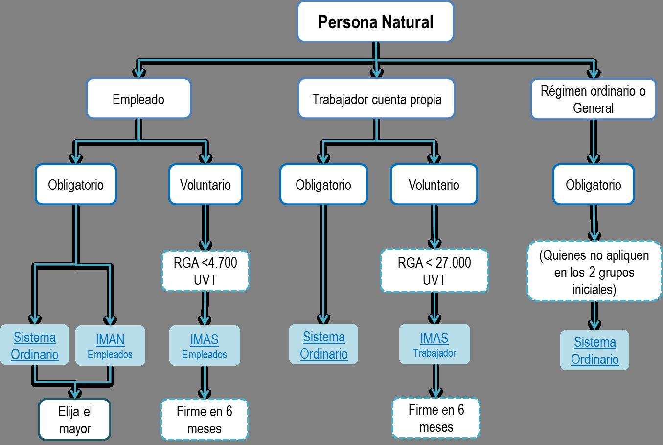 Clasificación de personas naturales y sistema de liquidación de renta