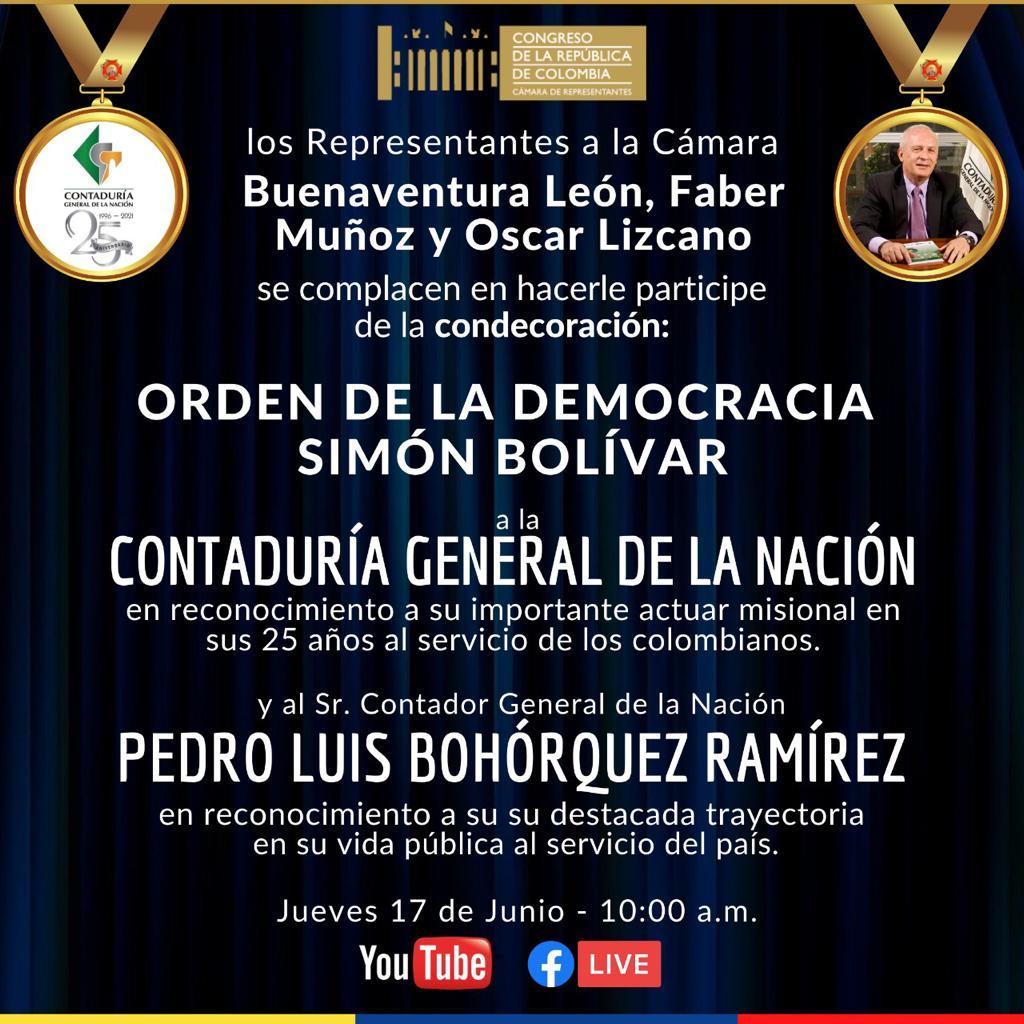 Contaduría General de la Nación y Contador General de la Nación serán galardonados